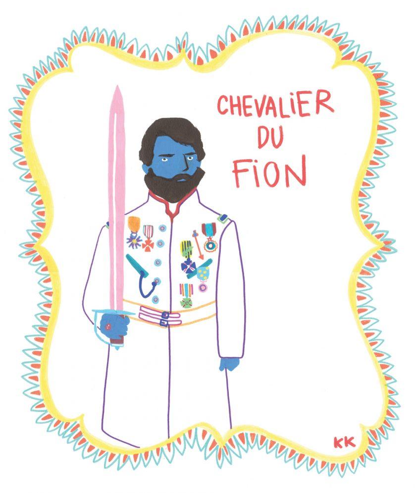 chevalier du fion CAMILLE DE CUSSAC tafmag jaune cochon illustration