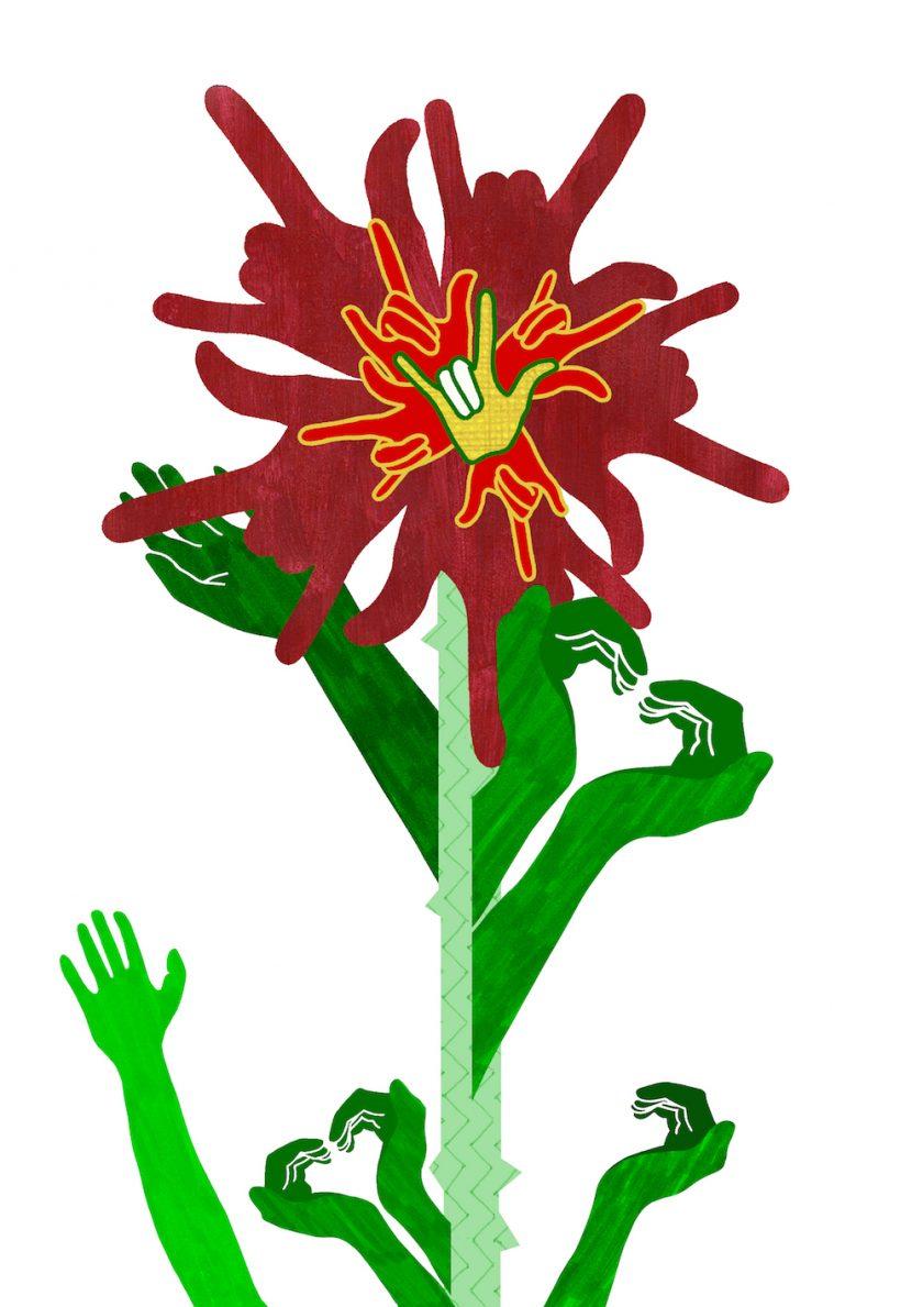 ellis van der does tafmag illustration 1. ILY + Heart hands