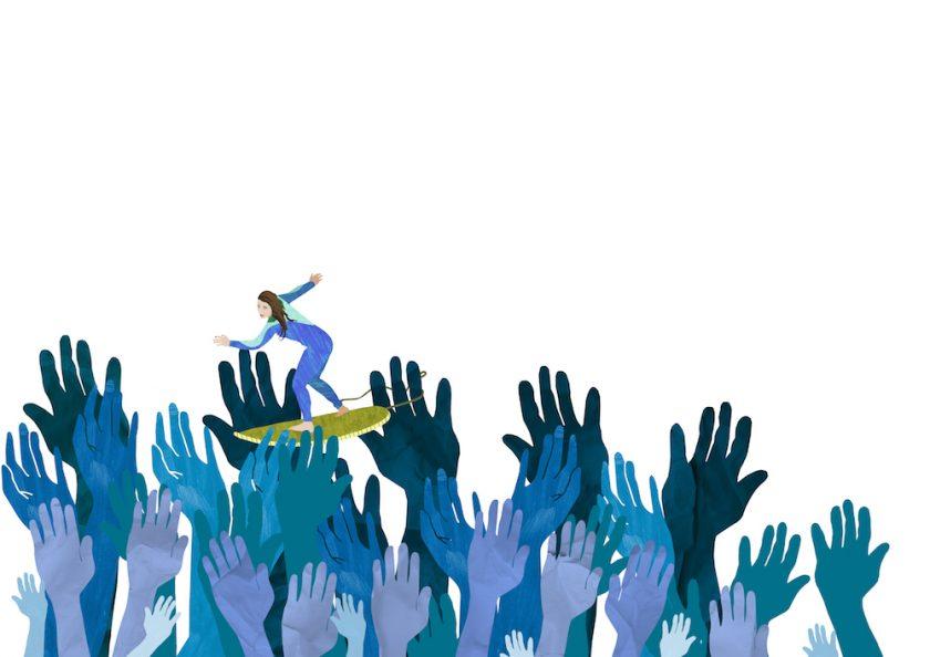 ellis van der does tafmag illustration 2. crowdsurfing