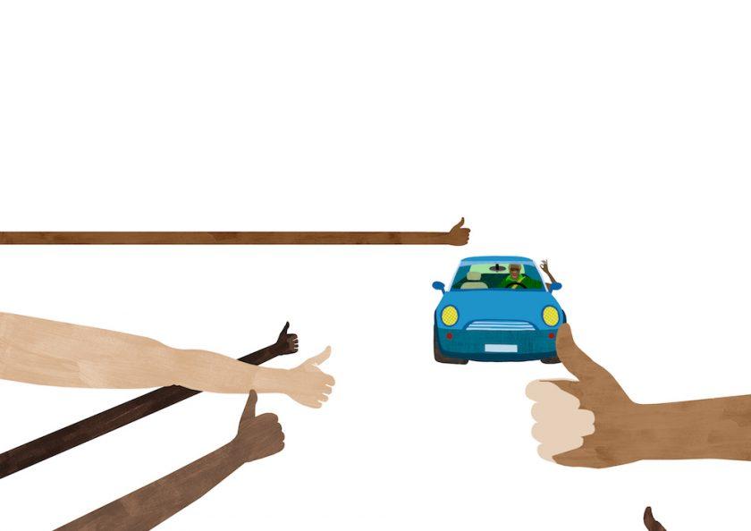 ellis van der does tafmag illustration 3. thumbs-up and a-ok
