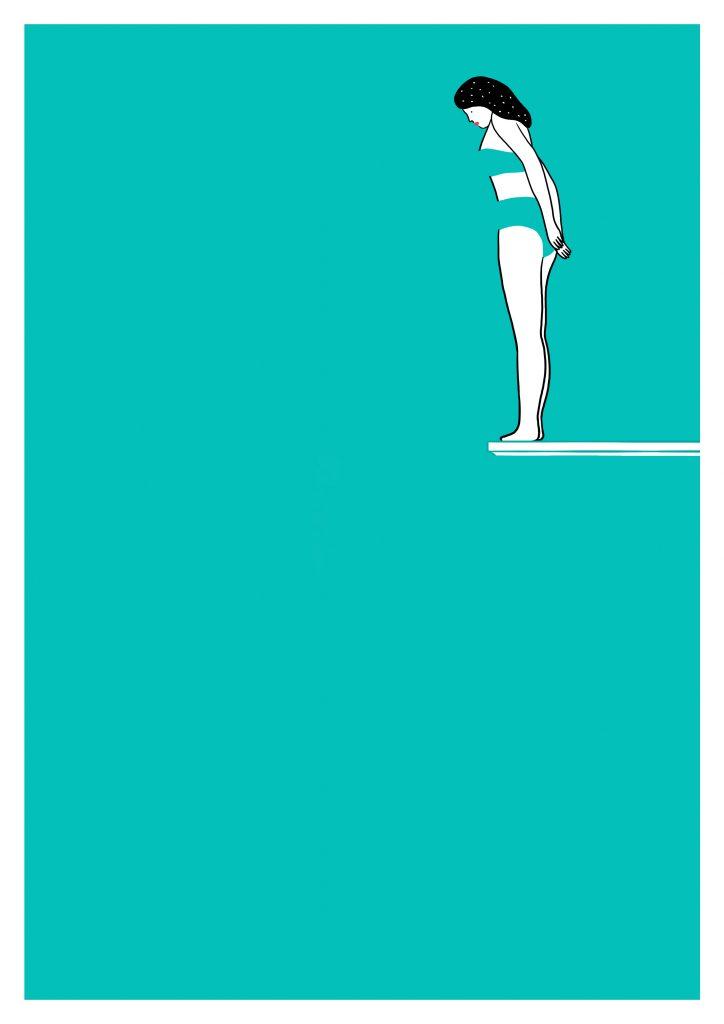 femme sur plongeoir sur fond bleu turquoise