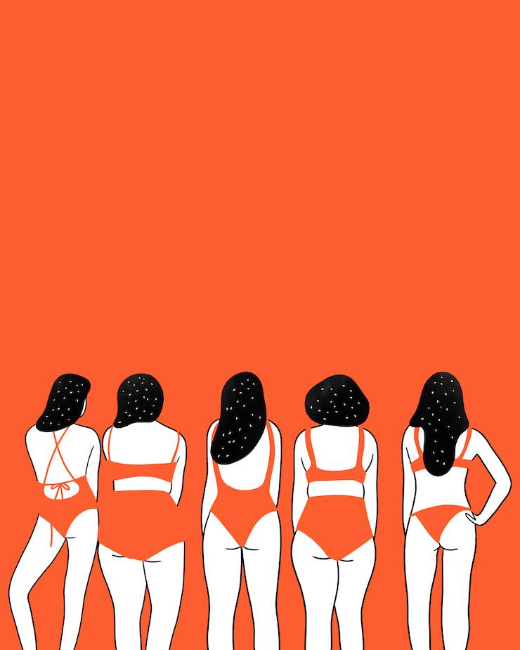 cinq femmes en maillot de bain orange